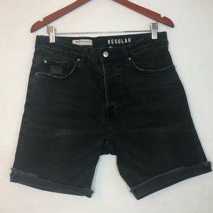 H&M Coachella Collection Black Denim Shorts Sz 32